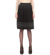 Alexander Mcqueen Box Pleat Stretch Knit Skirt Black Ivory