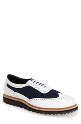 Allen Edmonds 'Jack Nicklaus Anaconda' Wingtip Golf Shoe Men White Navy