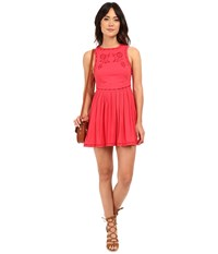 Free People Birds Of A Feather Mini Dress Paradise Coral Women's Dress Red
