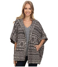 Lucky Brand Geo Poncho Black Multi Women's Coat