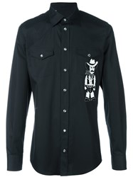 Dolce And Gabbana Cowboy Patch Shirt Black