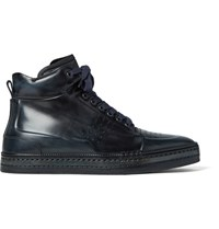 Berluti Polished Venezia Leather High Top Sneakers Petrol