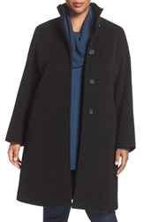 Cinzia Rocca Due Plus Size Women's Stand Collar Walker Wool Blend Coat Black