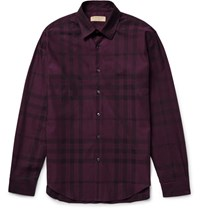 Burberry Slim Fit Checked Cotton Twill Shirt Grape