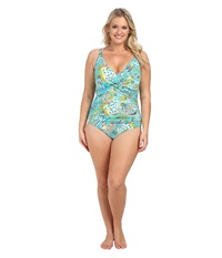 Lauren Ralph Lauren Plus Size Maldives Paisley Twist Shirred Mio Ots Slimming Fit One Piece Turq Multi Women's Swimsuits One Piece Blue