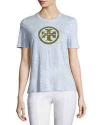 Tory Burch Demi Olive Logo Short Sleeve Linen Tee Women's French Lavender