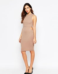 Ax Paris Overlay Dress In Rib With Small Side Cut Outs Beige