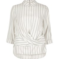 River Island Womens Cream Stripe Twist Front Top
