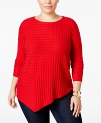 Inc International Concepts Plus Size Asymmetrical Sweater Only At Macy's Real Red