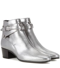 Saint Laurent Metallic Leather Ankle Boots Silver
