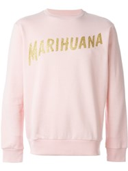 Palm Angels Marihuana Print Sweatshirt Pink And Purple