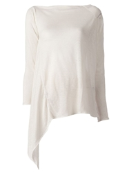 Lost And Found Asymmetric Draped Hem Sweater White