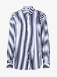 Msgm Stripe Cotton Shirt Blue White