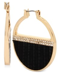 Kenneth Cole New York Pave Striped Hoop Earrings Black