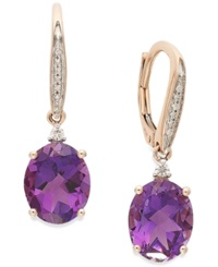 Macy's Amethyst 4 1 10 Ct. T.W. And Diamond Accent Oval Drop Earrings In 14K Rose Gold