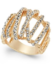 Inc International Concepts Gold Tone Braided Crystal Statement Ring Only At Macy's