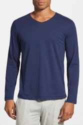 Daniel Buchler Pima Cotton Long Sleeve T Shirt Blue