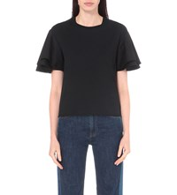 See By Chloe Ruffled Cotton Jersey T Shirt Black