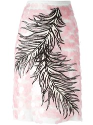 Emilio Pucci Embroidered Feather Skirt Pink And Purple