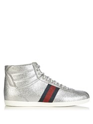 Gucci Bambi Glitter High Top Trainers Silver Multi