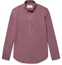Maison Martin Margiela Slim Fit Garment Dyed Cotton Shirt Purple
