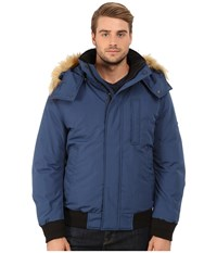 Marc New York Bristol Down Filled Oxford Twill Bomber W Faux Fur Trimmed Removable Hood Navy Men's Coat