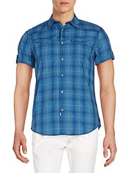 Calvin Klein Jeans Plaid Cotton Short Sleeve Western Shirt Ultramarine