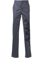 Alexander Mcqueen Embroidered Butterfly Trousers Grey