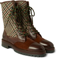 Etro Tweed And Calf Hair Panelled Leather Boots