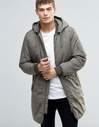 Jack And Jones Padded Parka With Detachable Hood Khaki Green