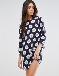 Traffic People Shift Dress In Daisy Print Navy