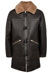 Schott Nyc M 90 Shearling Lined Leather Duffle Coat Black