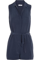Equipment Earl Washed Silk Playsuit Blue