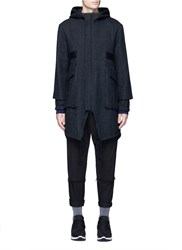 Song For The Mute Pinstripe Cotton Wool Cocoon Parka Grey