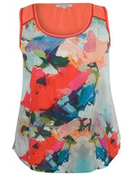 Chesca Contrast Print Top Sky Coral