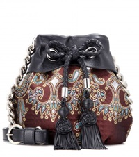 Alessandra Rich Jacquard And Leather Bucket Bag Brown
