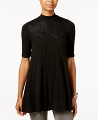 Amy Byer Bcx Juniors' Ribbed Lace Trim Tunic Black