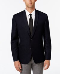 Bar Iii Men's Slim Fit Dark Navy Patterned Evening Jacket Only At Macy's