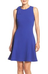 Eliza J Petite Women's Bow Shoulder Crepe Fit And Flare Dress Cobalt