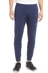 Nike Men's 'Y20' Tapered Fit Dri Fit Running Stretch Pants Midnight Navy Silver