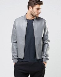 Asos Leather Look Bomber Jacket In Grey St1 Stone 1