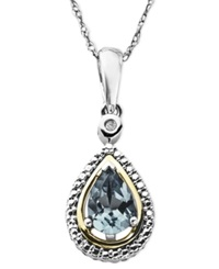 Macy's 14K Gold And Sterling Silver Necklace Aquamarine 5 8 Ct. T.W. And Diamond Accent Teardrop Pendant