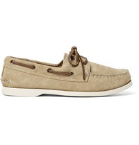 Quoddy Downeast Suede Boat Shoes Neutrals