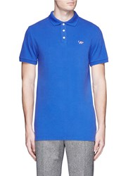 Maison Kitsune Fox Patch Polo Shirt Blue