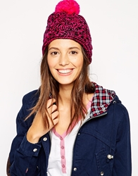 Brave Soul Cable Knit Beanie Hat With Pom Pom Neonpink