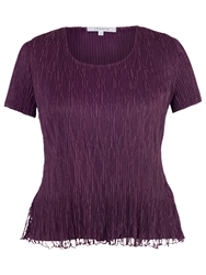 Chesca Lace Pleated Top Aubergine