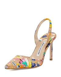Carolyne High Heel Paint Splatter Cork Halter Pump Multi Manolo Blahnik