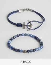 Simon Carter Beaded And Leather Bracelets In 2 Pack Exclusive To Asos Blue