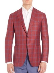 Canali Windowpane Checked Wool Blend Jacket Red