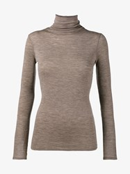 Vince Wool Turtle Neck Swearer Brown Gold Leaf Vanilla Cream